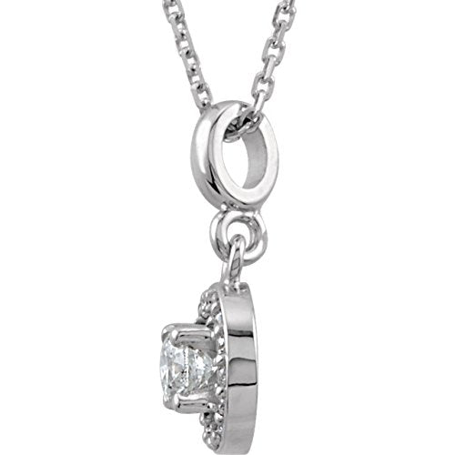 "Diamond Halo-Style Necklace, Rhodium-Plated 14k White Gold, 18"" (0.25 Ctw, Color G-H, Clarity I1)"