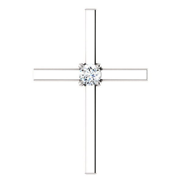 Platinum Diamond Christian Cross Pendant (.15 Ct, G-H Color, SI1-SI3 Clarity)