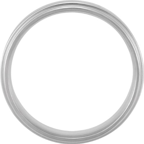 Grooved Flat Edge Comfort Fit 14k White Gold Band 7.5mm, Size 16