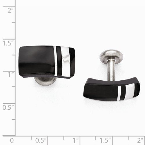 Wellington Collection Black Titanium and Sterling Silver Cuff Links, 13X23MM