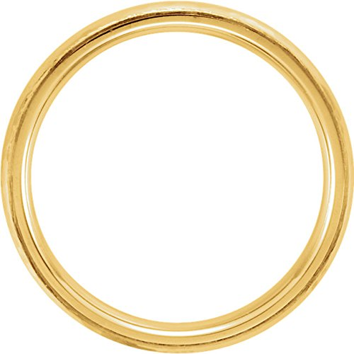 14k Yellow Gold Hammer Finished 4mm Comfort Fit Dome Band, Size4