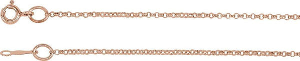 1.5mm Rhodium-Plated 14k Rose Gold Rolo Chain, 18""