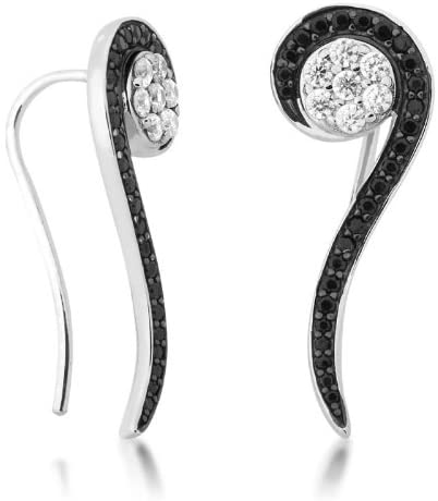 Black and White CZ Music Note Rhodium Plated Sterling Silver Ear Crawler Earrings