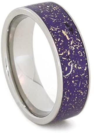 Green Stardust Band with Meteorite and Yellow Gold 7mm Comfort-Fit Titanium Ring, Size 15