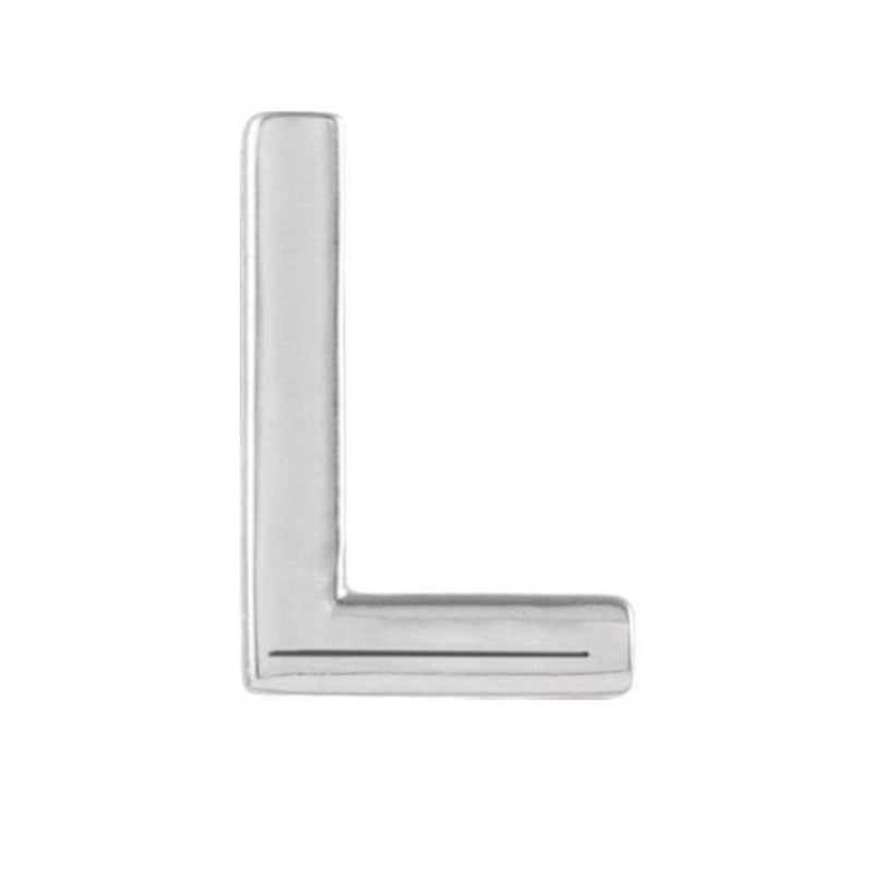Initial Letter 'L' Rhodium-Plated 14k White Gold Stud Earring (Single Earring)