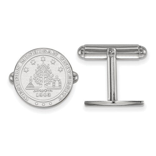 Rhodium-Plated Sterling Silver Western Michigan University Crest Cuff Links, 15MM