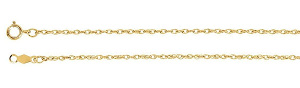 14k Yellow Gold 1.25mm Rope Chain, 18""
