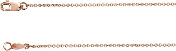 1mm 14k Rose Gold Solid Cable Chain, 16""
