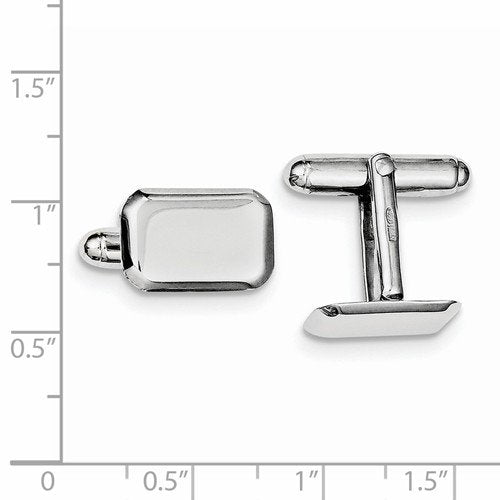 Rhodium-Plated Sterling Silver Rectangle Cuff Links, 16X11MM