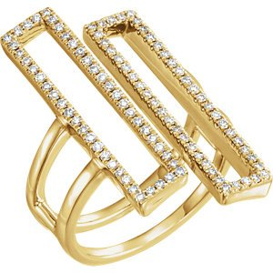 Double Rectangle Geometric Diamond Ring, 14k Yellow Gold, (1/2 Ctw, Color H+, Clarity I1), Size 7