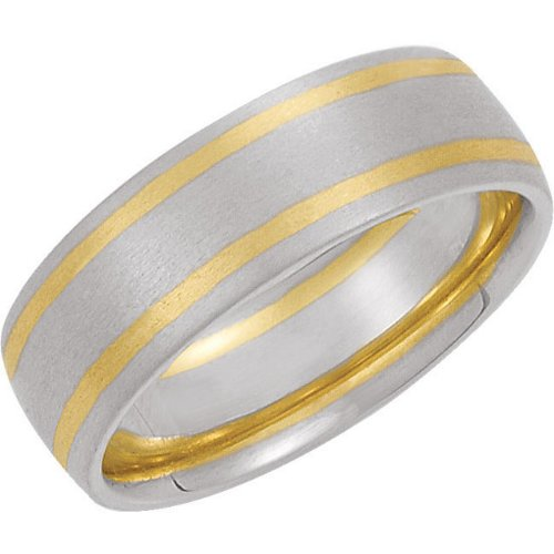 7mm 14k White and Yellow Gold Satin Brushed Comfort Fit Band