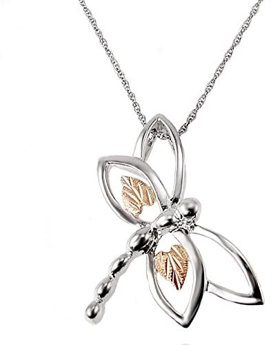 Dragonfly Pendant Necklace, Sterling Silver, 12k Green and Rose Gold Black Hills Gold Motif, 18""