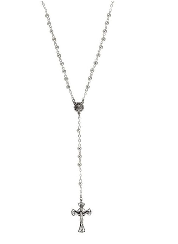 INRI Crucifix Rosary Necklace, Sterling Silver, 29.5""