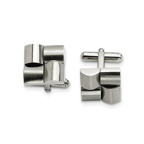 Stainless Steel Brushed Satin Square Cuff Links, 16MM
