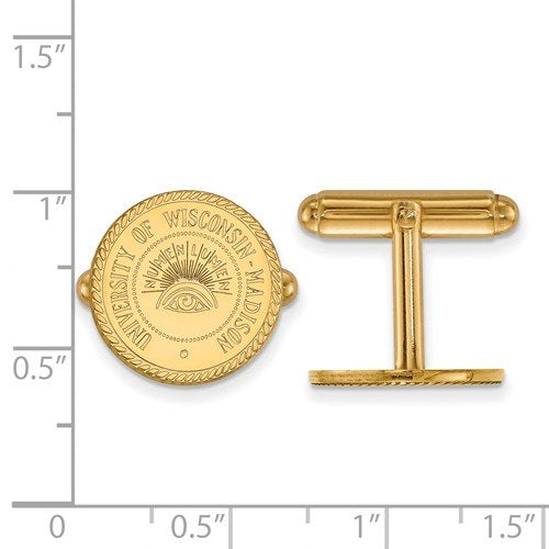 14k Yellow Gold University Of Wisconsin Crest Round Cuff Links, 15MM