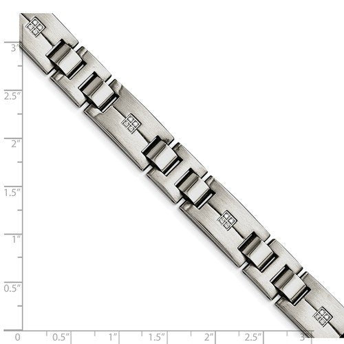 Men's Polished and Brushed Stainless Steel 12mm CZs Bracelet, 8.75""
