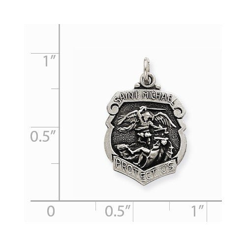 Sterling Silver St. Michael Badge Medal Charm Pendant (22X15 MM)