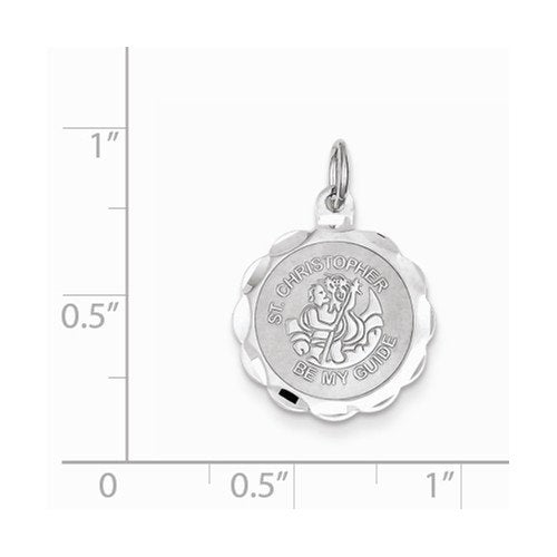 Sterling Silver St. Christopher Medal Charm (22X26MM)