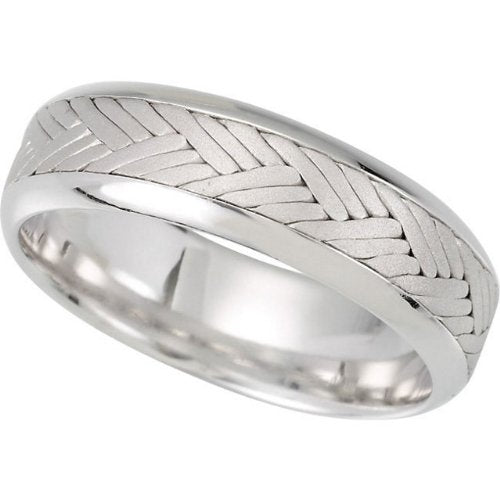 7mm 14k White Gold Hand Woven Chevron Braid Comfort Fit Band, Sizes 5 to 12.5