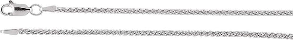1.8mm 14k White Gold Wheat Chain, 18""