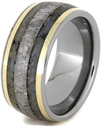 The Men's Jewelry Store Gibeon Meteorite, Dinosaur Bone, 14k Yellow Gold 10mm Comfort-Fit Titanium Wedding Band, Size 10.25