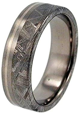 Gibeon Meteorite, 14k White Gold Pinstripe 6.5mm Comfort Fit Matte Titanium Wedding Band, Size 9
