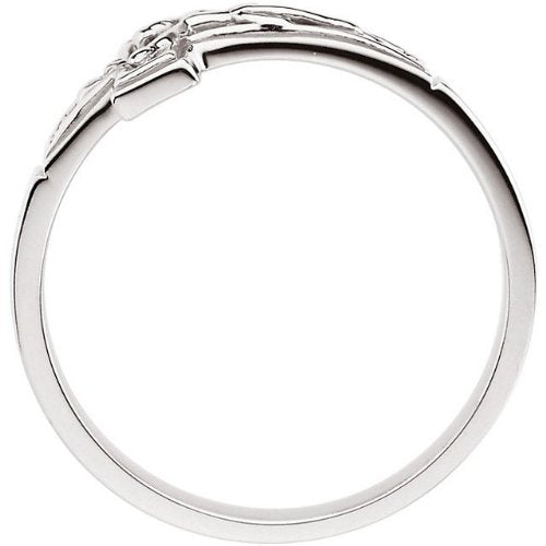 Mens Sterling Silver Crucifix Chastity Ring, Size 7