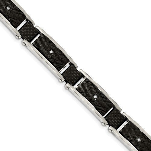 Men's Stainless Steel 11.7mm Black IP-Plated with CZ and Black Carbon Fiber Bracelet, 8.75 ""