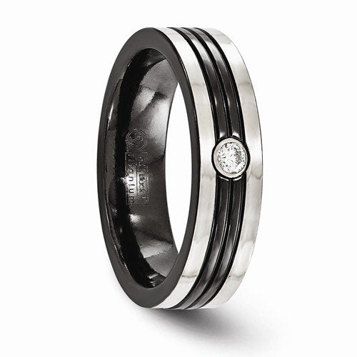 Diamond Collection in Black and Gray Titanium 6mm Grooved Comfort-Fit Band (.10 Ct, G-I, I1)