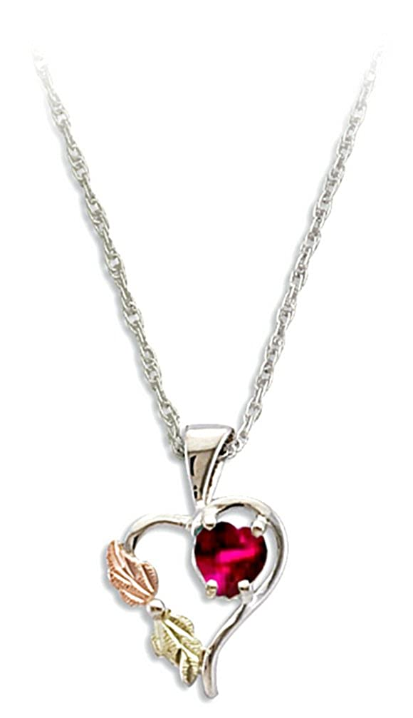 Red CZ July Birthstone Heart Pendant Necklace, Sterling Silver, 12k Green and Rose Gold Black Hills Gold Motif, 18""