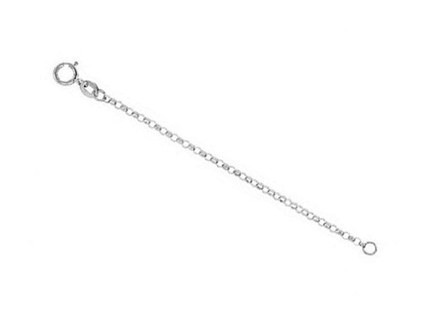 1.5mm 14k White Gold Hollow Belcher Rolo Chain Necklace Extender and Safety Chain, 3""