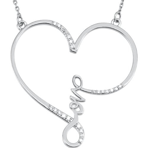"1/8 Ct. Love Heart Diamond Necklace in Sterling Silver, 18"" (.13 Ct, GH Color, I2 Clarity)"