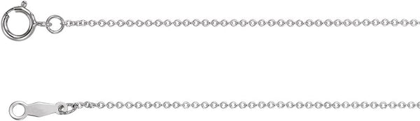 Rhodium-Plated 14k White Gold 1mm Solid Cable Chain Necklace, 18""