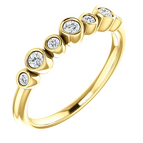 Diamond 7-Stone 3.25mm Ring, 14k Yellow Gold (.08 Ctw, G-H Color, I1 Clarity)