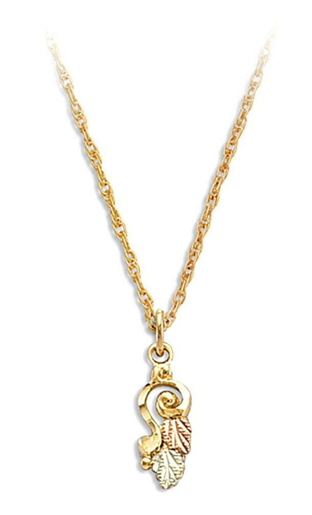 Swirl Pendant Necklace, 10k Yellow Gold, 12k Green and Rose Gold Black Hills Gold Motif, 18""