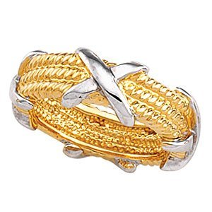 7mm 10k Yellow Gold and 10k White Gold Two-Tone Criss-Cross and Rope Design Band, Size 6.5