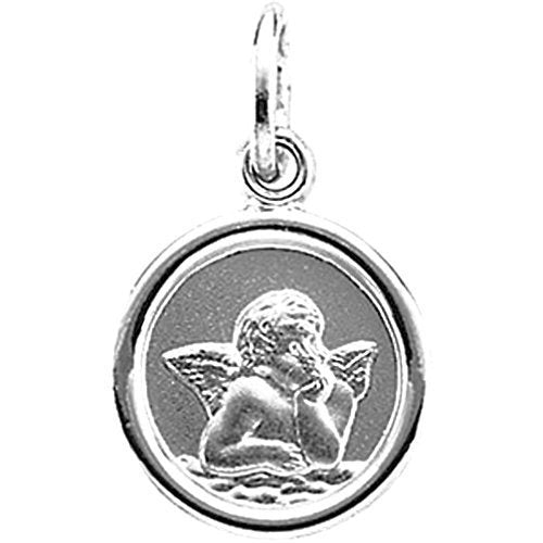 14k White Gold Round Angel Medal (14.25MM)