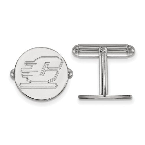 Rhodium-Plated Sterling Silver Central Michigan University Round Cuff Links,15MM