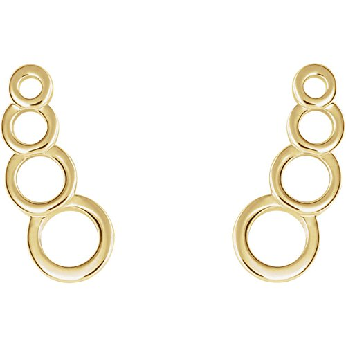Geometric Ear Climbers,14k Yellow Gold