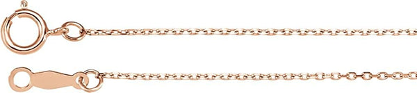 1 mm 14k Rose Gold Diamond Cut Cable Chain, 20""