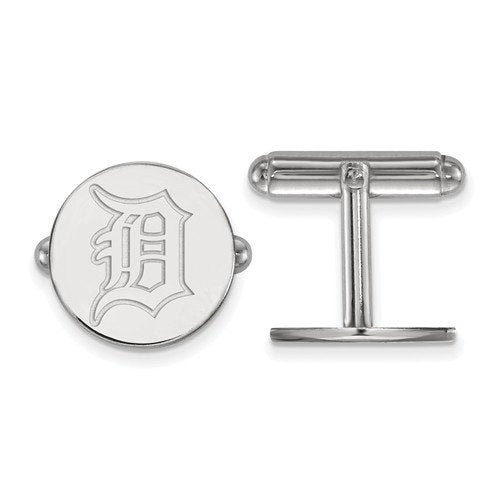Rhodium-Plated Sterling Silver MLB Detroit Tigers Round Cuff Links, 15MM