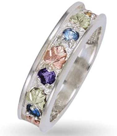 Sapphire, Amethyst, Blue Topaz, Citrine Ring, Sterling Silver, 12k Green and Rose Gold Black Hills Gold Motif, 12k Green and Rose Gold Black Hills Gold Motif, Size 5.25