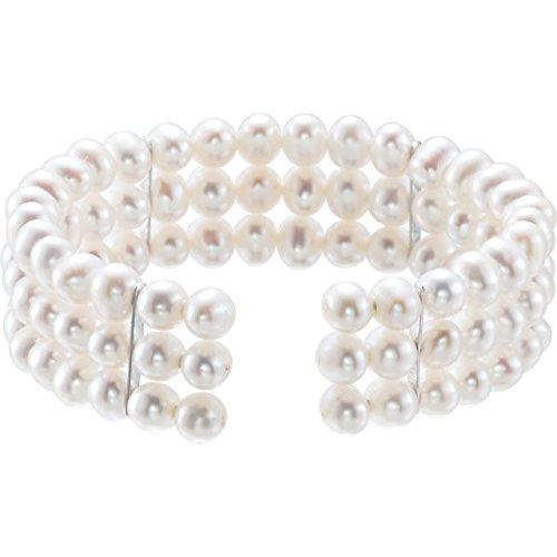 Freshwater Cultured Pearl 3 Row Bangle Bracelet, 5.00 MM - 5.50 MM, Sterling Silver, 7.50 Inches