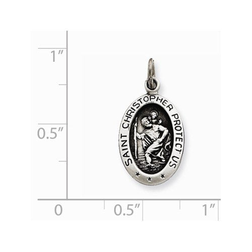 Sterling Silver Antiqued Saint Christopher Medal Charm Pendant (21X11 MM)