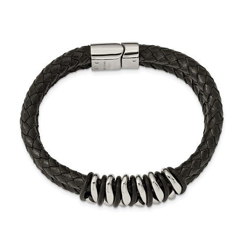 Men's Polished Stainless Steel 17mm Black Rubber and Leather Bracelet, 8.5""