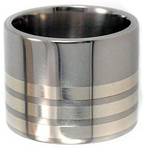 Sterling Silver Inlay 15mm Comfort Fit Titanium Wide Ring, Size 13.25