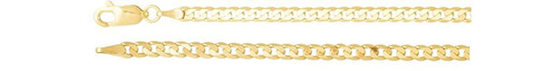 3mm 14k Yellow Gold Solid Curb Chain Bracelet, 7""