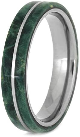 Green Box Elder Burl Wood 4mm Titanium Comfort-Fit Wedding Band, Size 9.75