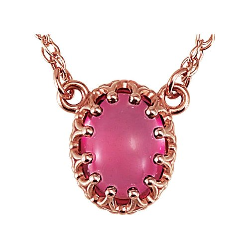 14k Rose Gold 1.65 Ct Pink Tourmaline Oval Cabachon Necklace, 18""