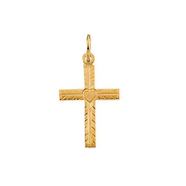 Childrens 14k Yellow Gold Heart Cross Pendant